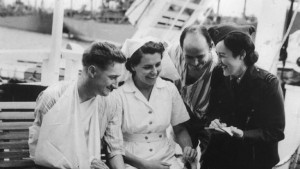Lorraine Stumm interviewing on a hospital ship
