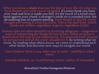 Amanda Holohan writing quote #loveOzLit