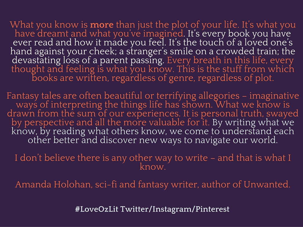 Amanda Holohan writing quote #loveOzLit