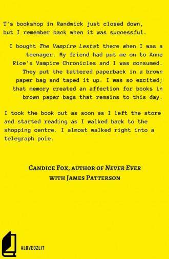 #LoveOzLit: Candice Fox, on her favourite bookstore memory