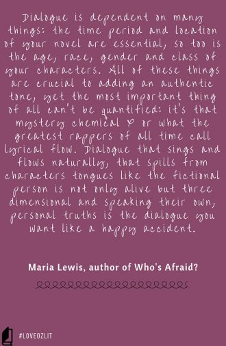 #LoveOzLit: Maria Lewis on that something indefinable that makes dialogue sing