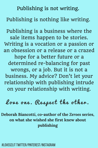 #LoveOzLit: Deborah Biancotti on the difference between publishing and writing
