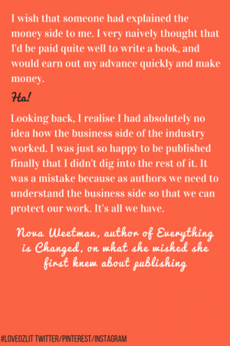 #LoveOzLit Nova Weetman on what she wished she first knew about publishing
